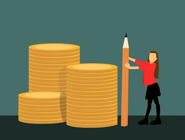dívka s tužkou u peněz